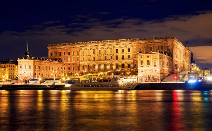 Royal Palace Stockholm in the evening