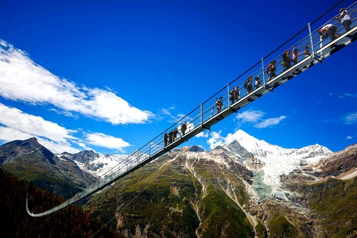 hanging bridge in switzerland