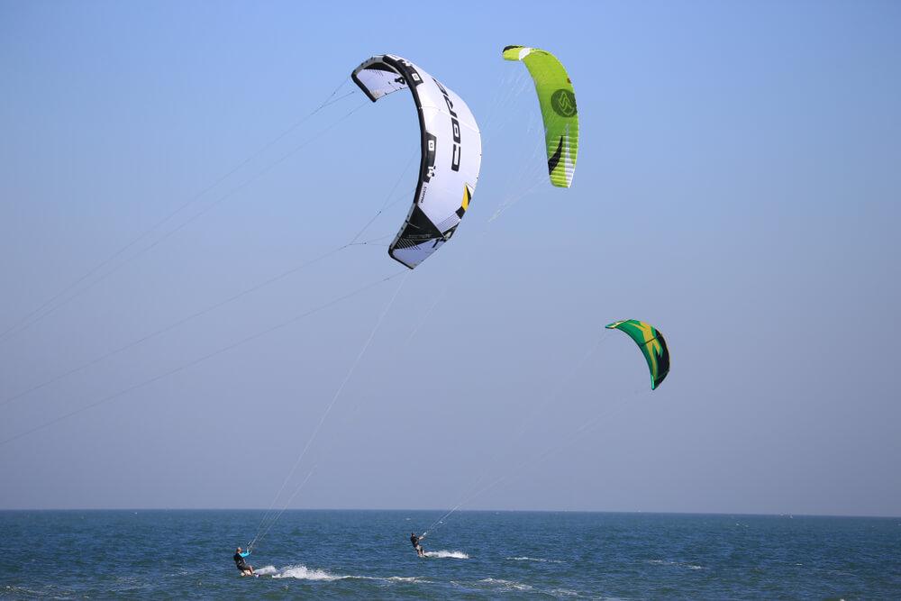 paragliding on sea shore