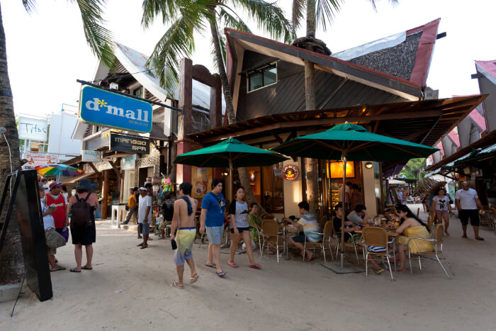 A shopping are in Boracay, Philippines