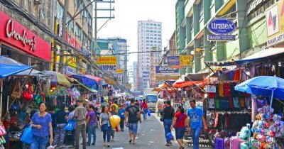 A busy market street in Manila Philippines