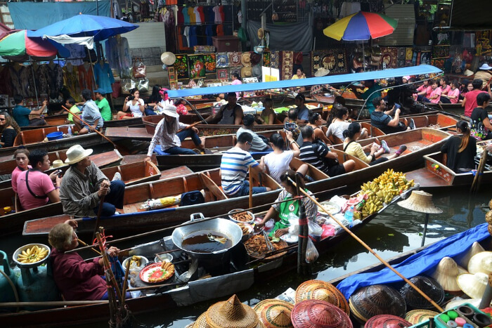 People in a floating market