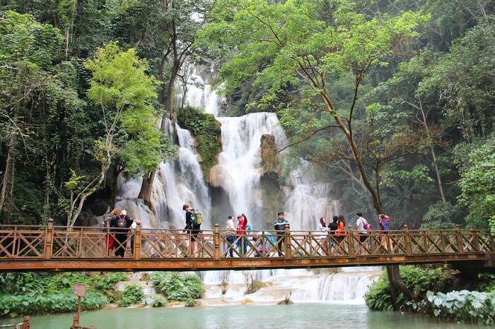 Hiking at Kuang Si Falls