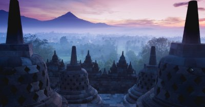 View from the top of Borobudur Temple in Java Island, Indonesia