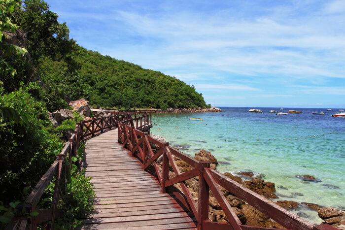 A walkway of Koh Larn Island in Thailand