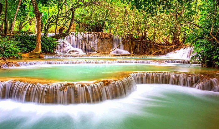 Three level famous waterfall in laos