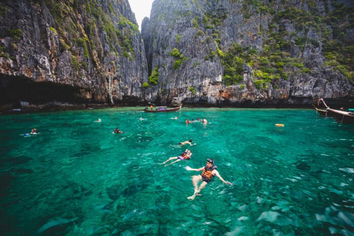 People snorkeling in Krabi, Thailand