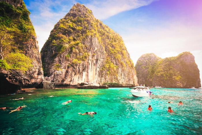 People snorkeling in Phi Phi Island, Thailand