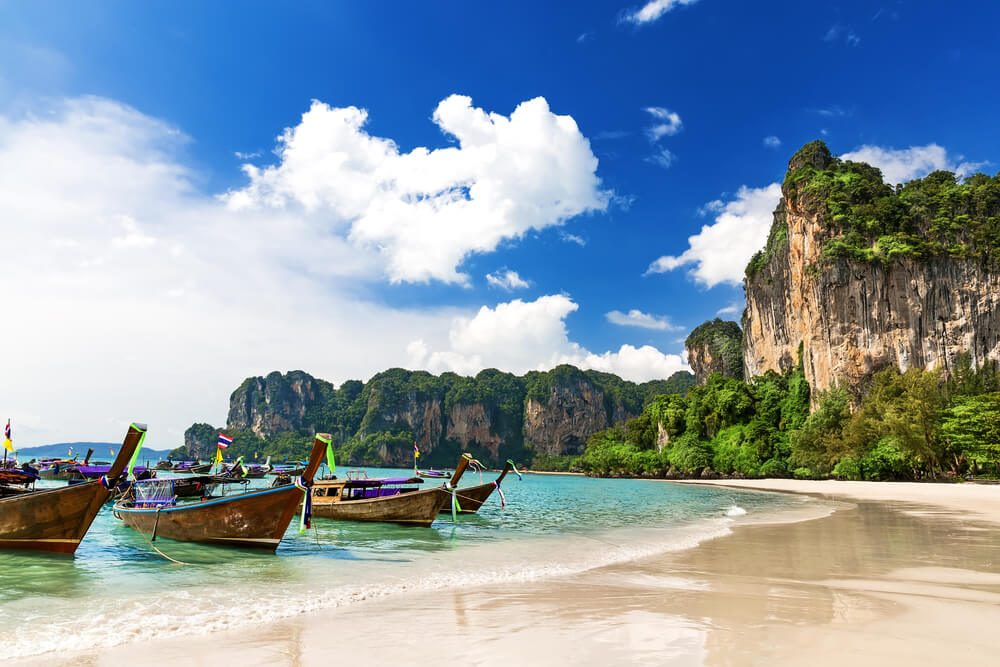 the tranquil coast of Railay Beach