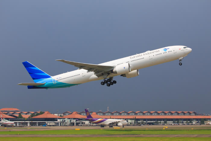 A flight taking off at Jakarta Airport