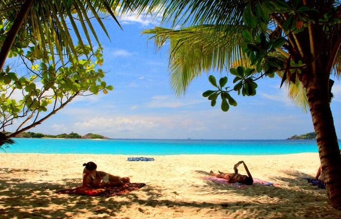 Women sunbathing at Redang Island