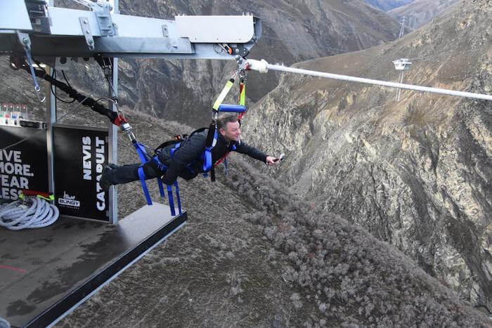 A man ready for jump at Nevis Catapult in New Zealand
