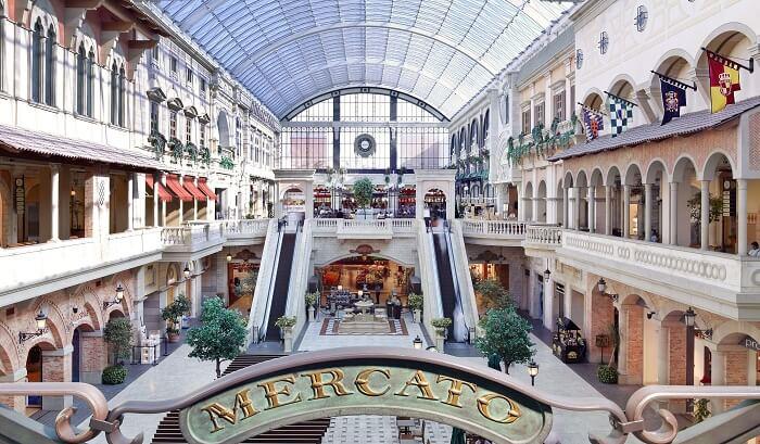Interior view of Mercato Shopping Mall
