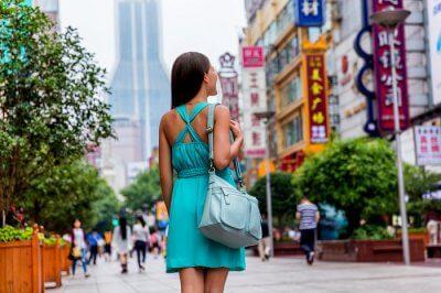 woman shopping in china