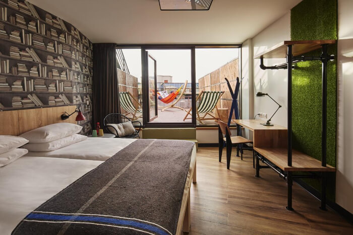 stylish hostel has an amazing rooftop for your view of Paris