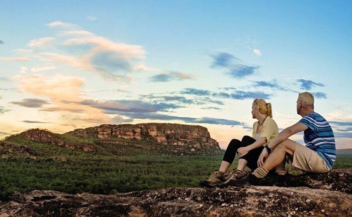 couple sitting in kakadu national park
