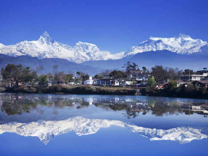 majestic reflection of the Machhapuchhre Mountains