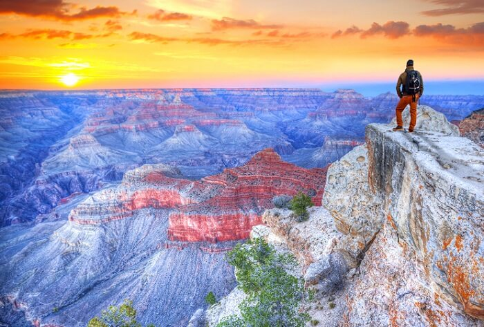 Man looking at grand canyon views