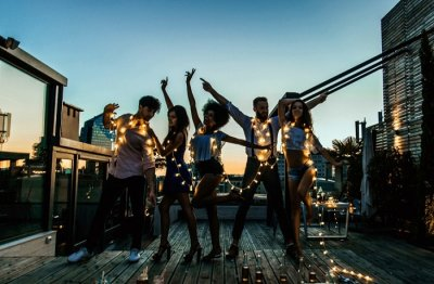 people partying on rooftop