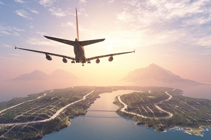 aeroplane flying over sea