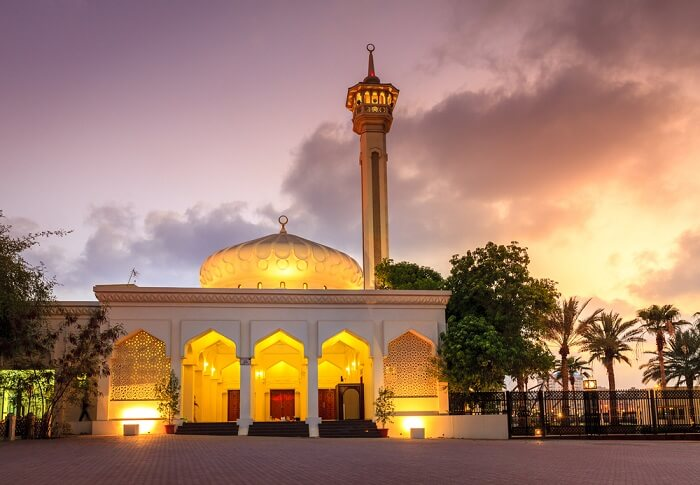 grand bur mosque at night