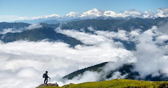 A_trekker_enjoying_the_beauty_of_Langtang,_Nepal