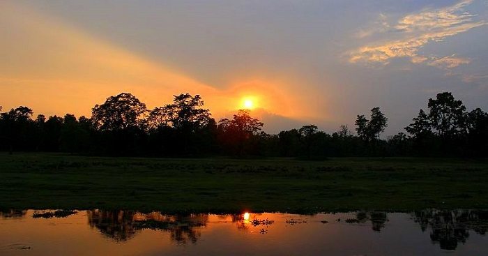 sunset view of chitwan national park