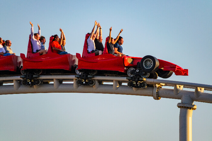Visitors enjoying a ride at Ferrari World