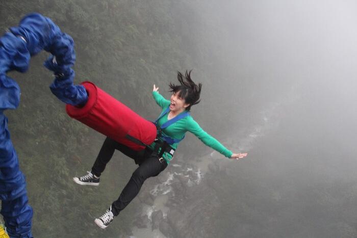 Bunjee jumping in Bhote Kosi river, Nepal