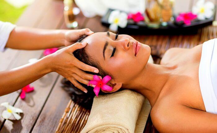 girl relaxing in spa