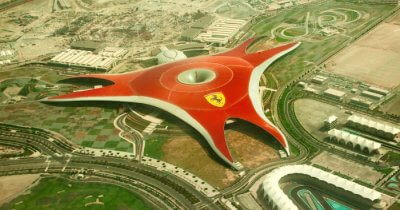 Bird eye view of Ferrari World park in Abu Dhabi
