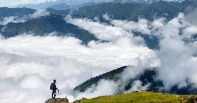 A clouded overview of Langtang National Park in Nepal