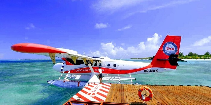 sea plane landed at kanuhura island resort