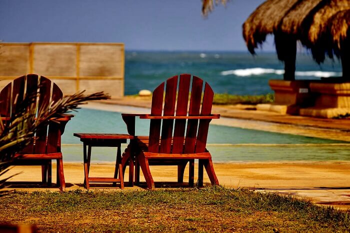 chair and table on beach
