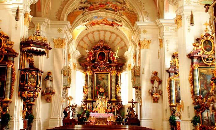 inside view of the popular church in zurich