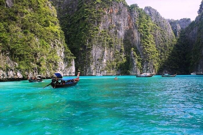 hills sea boating in Ko Phi Phi