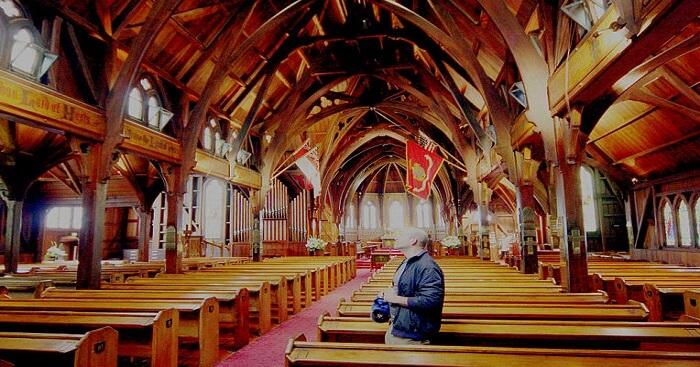 man inside the church
