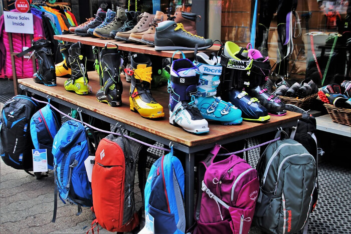 Skiing accessories displayed in a store