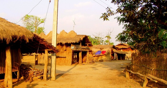 several huts in the village