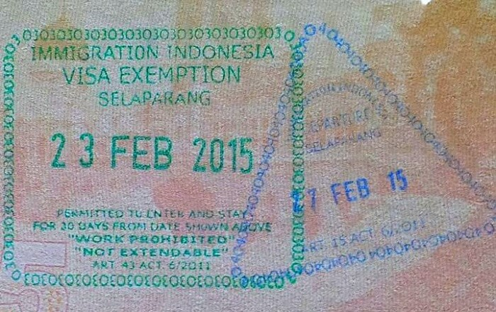 visa stamp of indonesia
