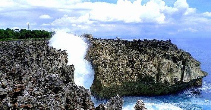 water flashing from rocks
