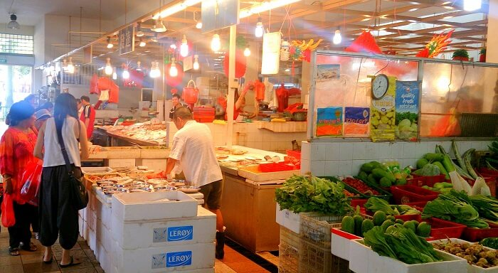 fresh vegetables and meat market