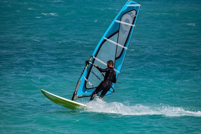 Windsurfing in water