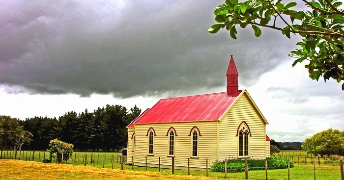 cloudy view of church in new zealand