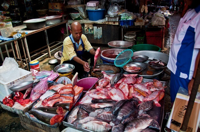 one of the fish dealers of the market