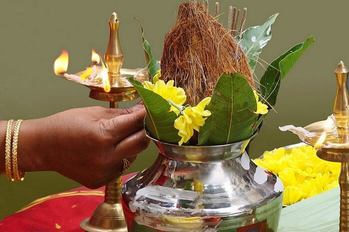 oil lamp and a coconut