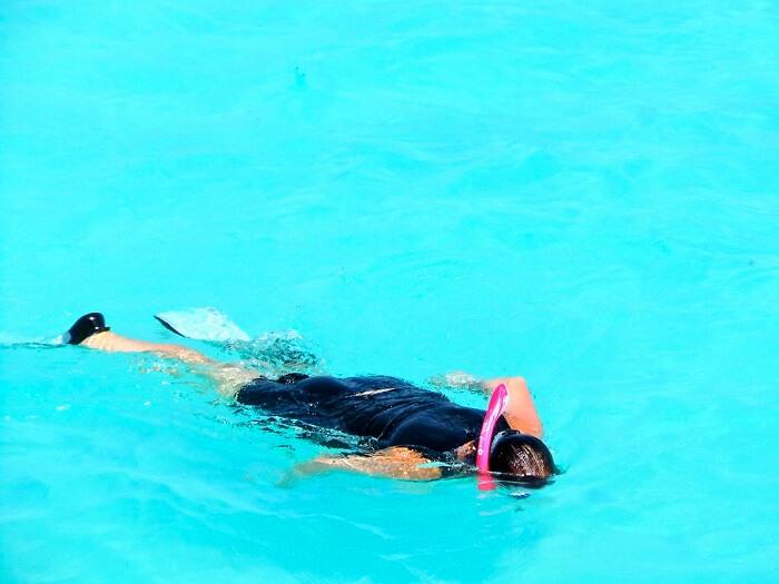 snorkeling in seawater