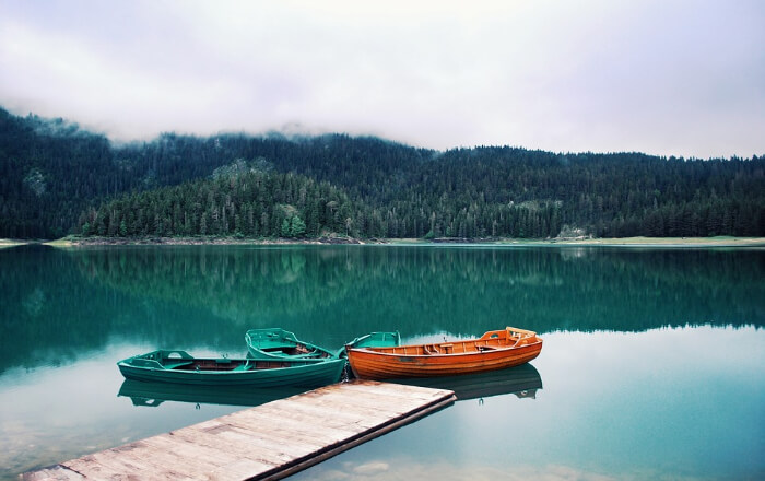 small boats on the lake