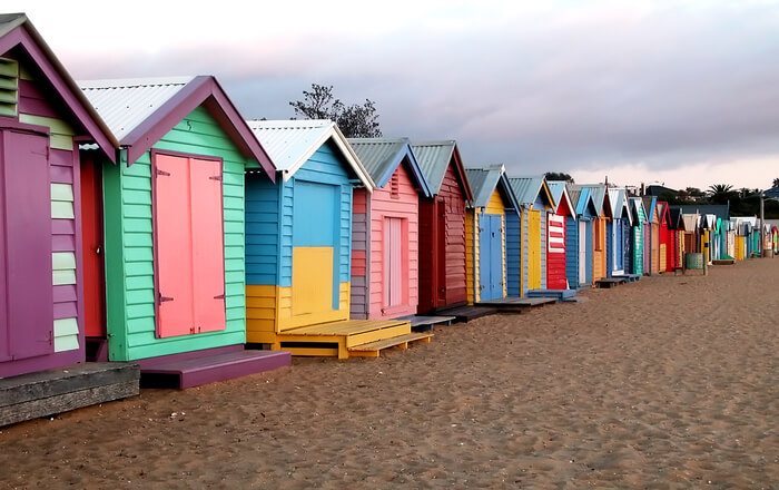 Small houses on beach