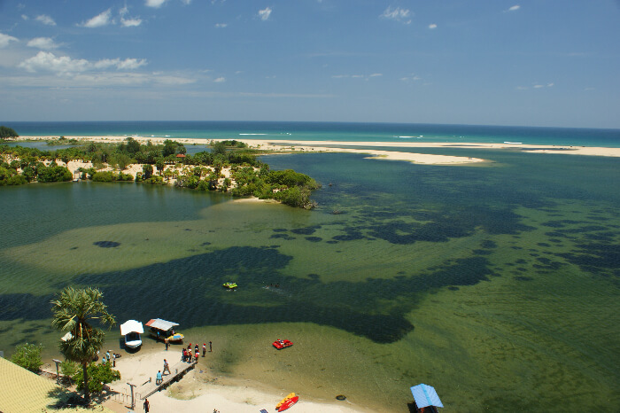 An aerial view of the Batticaloa beach